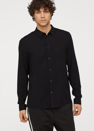 Новая рубашка офисная сорочка черная regular fit от next