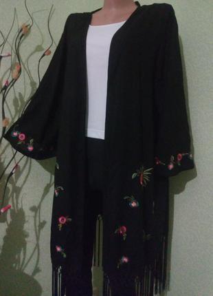 Вискозный кардиган кимоно с вышивкой и бахромой большого размера 54 -56-58