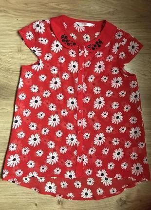 Нарядная блуза в цветочный принт