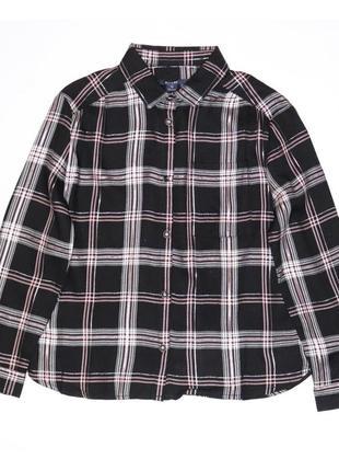 Новая черная рубашка в розовую клеточку для девочки, kiabi, vt13112