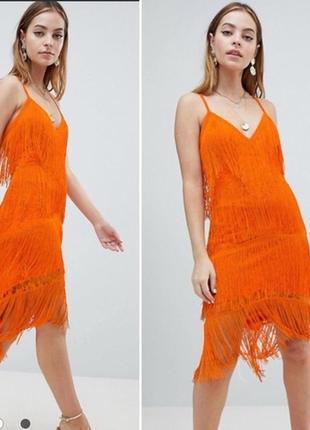 🔥🔥🔥шик💗💗💗роскошное платье asos design! кружево+бахрома!неоновое!