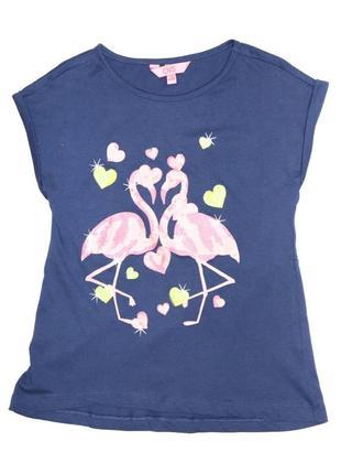 Новая синяя футболка с фламинго для девочки, ovs kids, 8806464