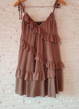 Милое трикотажное мини платье рюши h&m