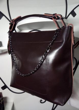 Шикарная женская кожаная сумка в деловом стиле натуральная кожа с цепочкой шоппер италия