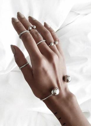 Набор украшений браслет и кольца на фаланги пальцев серебристые шарики