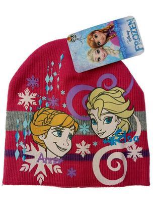 Розовая синяя детская шапка для девочки холодное сердце