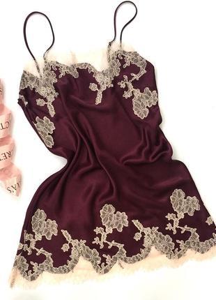 Сатиновая атласная пижама ночнушка сорочка пеньюар виктория сикрет оригинал