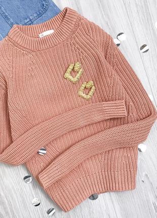 Новый! плотный свитер лососевого оттенка h&m