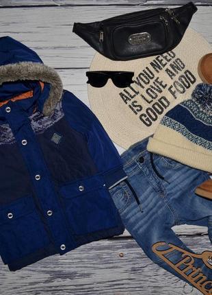 18 месяцев 80 см фирменная мего крутая теплая куртка пальто парка с мехом тимберленд