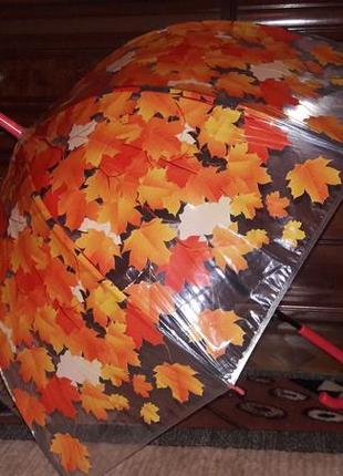 Зонт трость полуавтомат в листья прозрачный