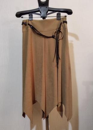 Ассиметричная женская юбка миди песочного цвета