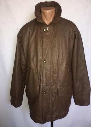 Кожаная утепленная длинная куртка 54 р