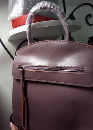 Красивый кожаный женский рюкзак цвет чайной розы, пудровый, италия celine натуральная кожа