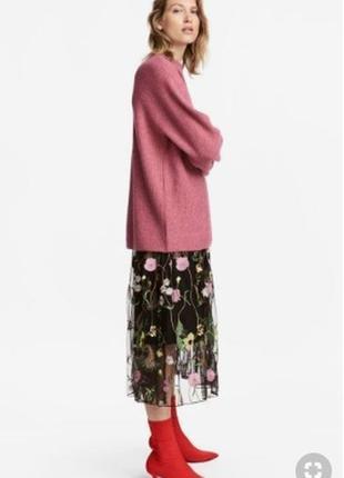 Тюлевая юбка с вышивкой h&m, l-xl, 40-42, фатин, цветочный принт