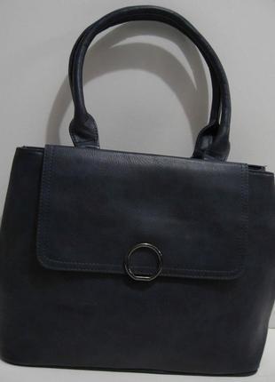 Женская сумка с клапаном (синяя) 19-02-038