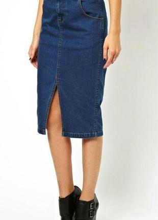 Тренд 2019 года! джинсовая прямая юбка миди, marks&spenser, l-xl