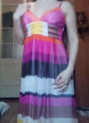 Легкое шифоновое платье миди длинное можно для беременных