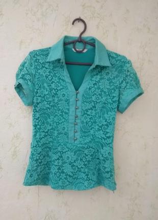 Бирюзовая зелёная блузка блуза кружевная с кружевом с гипюром