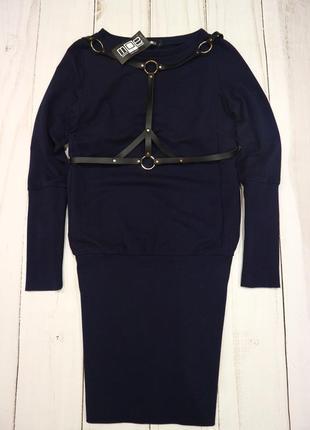 Трикотажное платье миди с портупеей, mое, l-xl