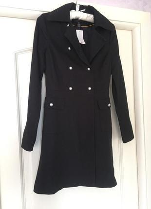 Черный двубортный котоновый тренч пальто