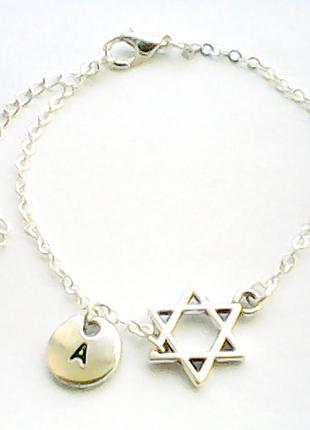 Женский браслет подвеска личная буква подарок новый год рождество звезда давида кулон