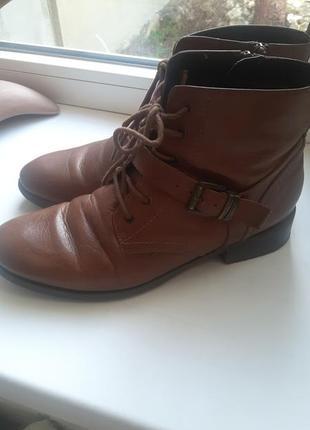 Демисезонные ботинки на низком ходу.кожа!