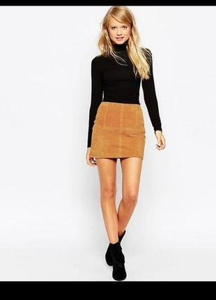 Рыжая юбка под замш,коричневая юбка замшевая