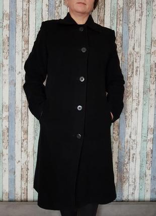 Черное кашемировое пальто шинель