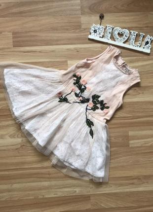 Фименное нарядное платье next малышке 2-3 года состояние нового