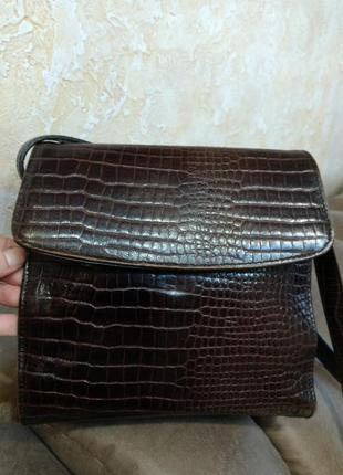 Красивая кожаная сумка на плечо рептилия