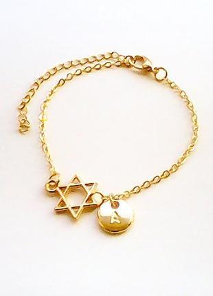 Женский браслет звезда давида подвеска подарок новый год рождество цепочка кулон