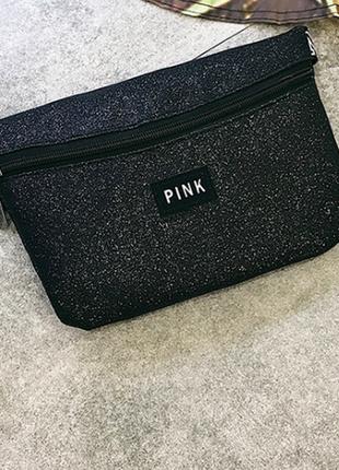 Блестящая поясная бананка , маленькая сумочка victorias secret pink, черная