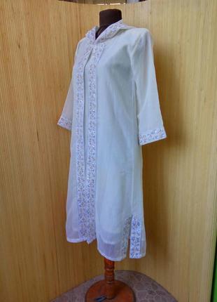 Белая марокканская туника с капюшоном / джалабия  / джеллаба