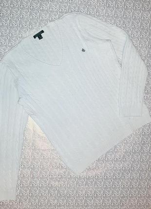 -50% на 2-ю единицу белый стильный свитер косичка ralph lauren, размер 50 - 52