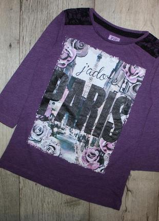 Реглан свитот джемпер фиолетовый париж f&f 9-10 лет, рост 134-140 см.