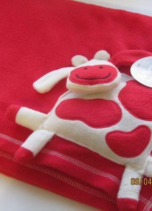 Новый  теплый плед-одеялко для деток с милой коровкой,100\125см