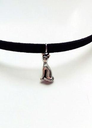 Замшевый черный чокер с подвеской котик античное серебро v.7
