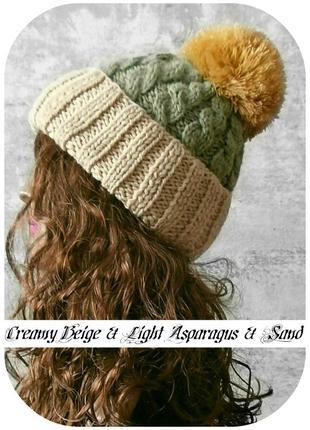 Любая расцветка! хлопковая шапка с отворотом/помпон/косы/шафран, сливочный, спаржа