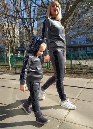 Велюровый костюм для для мамы и дочки family look5 фото