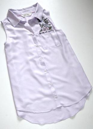 H&m. вискозная лавандовая с вышивкой блуза. 12-13 лет. рост 158 см