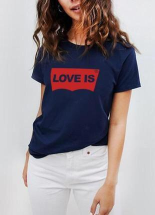 """Модная женская футболка синяя """"love is"""" 100% коттон размеры испания"""