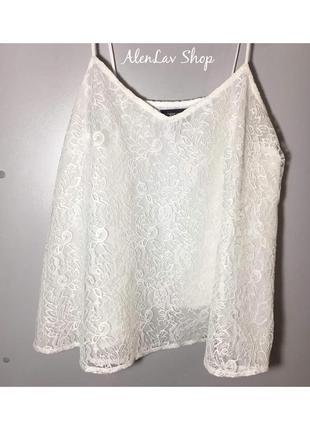 Новая кружевная нежно белая блуза топ с красивым тонким кружевом от topshop