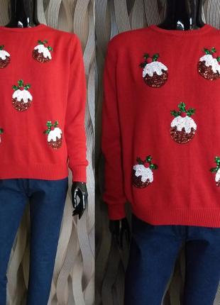 Весенняя распродажа/свитер новогодний принт размер medium uk 12-16 наш 46-50 см замеры