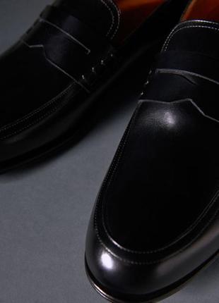Кожаные туфли черные massimo dutti