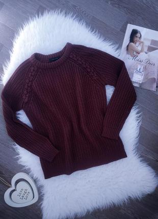 Вязаный свитер с косами бордового цвета 💕 джемпер пуловер