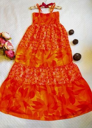Шикарное яркое платье-сарафан в цветочную поляну размер 10-12 (м-l)3 фото