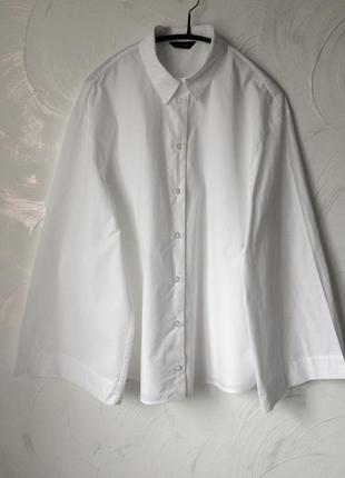 100% катон белая рубашка бойфренд с расклешенными рукавами, 38