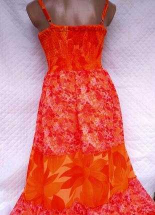Шикарное яркое платье-сарафан в цветочную поляну размер 10-12 (м-l)2 фото