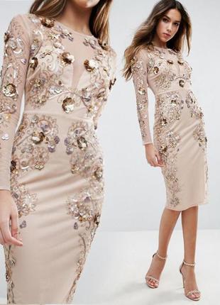 Облегающее платье asos миди с инкрустацией и пайетками