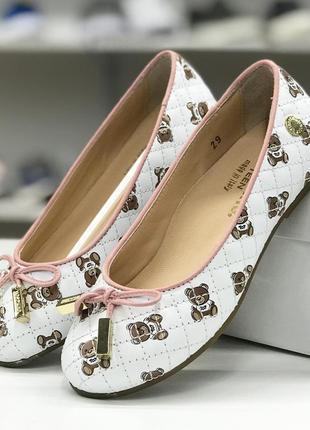 Кожаные туфельки для девочки moschino